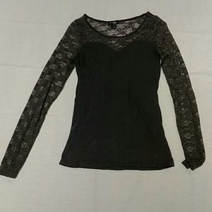 Bozzolo gray shirt with Chantilly lace size L